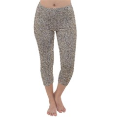 Light Beige Sand Texture Capri Winter Leggings