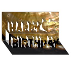 Golden Pearls Happy Birthday 3d Greeting Card (8x4)