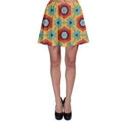 Stars and honeycomb pattern Skater Skirt