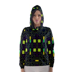 Triangles and squares Hooded Wind Breaker (Women)