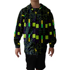 Triangles and squares Hooded Wind Breaker (Kids)