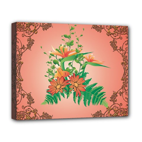 Awesome Flowers And Leaves With Floral Elements On Soft Red Background Deluxe Canvas 20  x 16