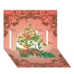 Awesome Flowers And Leaves With Floral Elements On Soft Red Background I Love You 3D Greeting Card (7x5)