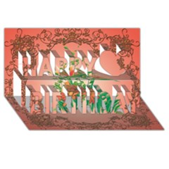 Awesome Flowers And Leaves With Floral Elements On Soft Red Background Happy Birthday 3d Greeting Card (8x4)