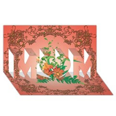 Awesome Flowers And Leaves With Floral Elements On Soft Red Background Mom 3d Greeting Card (8x4)