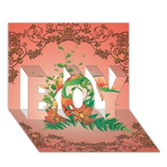 Awesome Flowers And Leaves With Floral Elements On Soft Red Background Boy 3d Greeting Card (7x5)