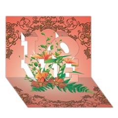 Awesome Flowers And Leaves With Floral Elements On Soft Red Background LOVE 3D Greeting Card (7x5)