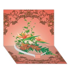 Awesome Flowers And Leaves With Floral Elements On Soft Red Background Heart Bottom 3d Greeting Card (7x5)