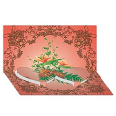 Awesome Flowers And Leaves With Floral Elements On Soft Red Background Twin Heart Bottom 3d Greeting Card (8x4)