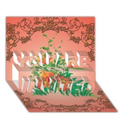 Awesome Flowers And Leaves With Floral Elements On Soft Red Background You Are Invited 3d Greeting Card (7x5)