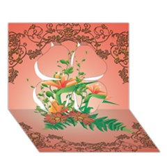 Awesome Flowers And Leaves With Floral Elements On Soft Red Background Clover 3d Greeting Card (7x5)