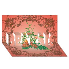 Awesome Flowers And Leaves With Floral Elements On Soft Red Background BEST SIS 3D Greeting Card (8x4)