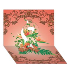 Awesome Flowers And Leaves With Floral Elements On Soft Red Background Ribbon 3d Greeting Card (7x5)