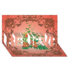 Awesome Flowers And Leaves With Floral Elements On Soft Red Background BELIEVE 3D Greeting Card (8x4)