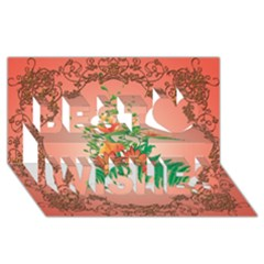 Awesome Flowers And Leaves With Floral Elements On Soft Red Background Best Wish 3d Greeting Card (8x4)