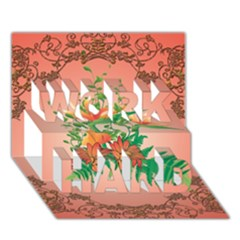 Awesome Flowers And Leaves With Floral Elements On Soft Red Background WORK HARD 3D Greeting Card (7x5)