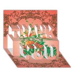 Awesome Flowers And Leaves With Floral Elements On Soft Red Background Thank You 3d Greeting Card (7x5)