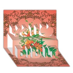 Awesome Flowers And Leaves With Floral Elements On Soft Red Background You Did It 3d Greeting Card (7x5)