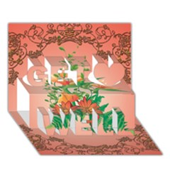 Awesome Flowers And Leaves With Floral Elements On Soft Red Background Get Well 3d Greeting Card (7x5)
