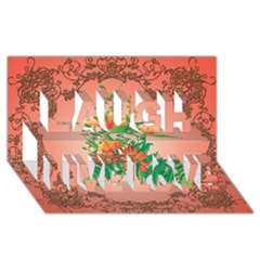 Awesome Flowers And Leaves With Floral Elements On Soft Red Background Laugh Live Love 3d Greeting Card (8x4)