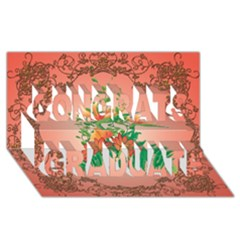 Awesome Flowers And Leaves With Floral Elements On Soft Red Background Congrats Graduate 3d Greeting Card (8x4)