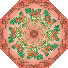 Awesome Flowers And Leaves With Floral Elements On Soft Red Background Hook Handle Umbrellas (Small)