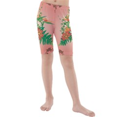 Awesome Flowers And Leaves With Floral Elements On Soft Red Background Kid s Mid Length Swim Shorts