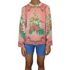 Awesome Flowers And Leaves With Floral Elements On Soft Red Background Kid s Long Sleeve Swimwear