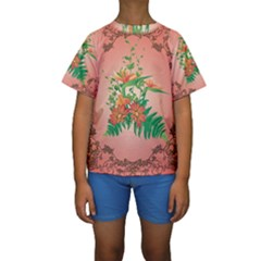 Awesome Flowers And Leaves With Floral Elements On Soft Red Background Kid s Short Sleeve Swimwear