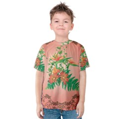 Awesome Flowers And Leaves With Floral Elements On Soft Red Background Kid s Cotton Tee