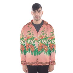 Awesome Flowers And Leaves With Floral Elements On Soft Red Background Hooded Wind Breaker (Men)