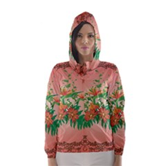 Awesome Flowers And Leaves With Floral Elements On Soft Red Background Hooded Wind Breaker (Women)