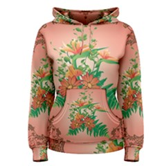 Awesome Flowers And Leaves With Floral Elements On Soft Red Background Women s Pullover Hoodies