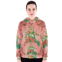 Awesome Flowers And Leaves With Floral Elements On Soft Red Background Women s Zipper Hoodies