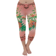 Awesome Flowers And Leaves With Floral Elements On Soft Red Background Capri Winter Leggings
