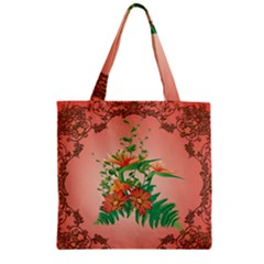 Awesome Flowers And Leaves With Floral Elements On Soft Red Background Zipper Grocery Tote Bags