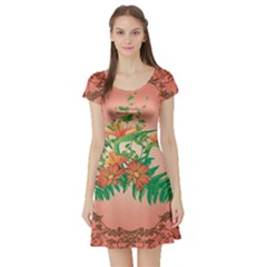 Awesome Flowers And Leaves With Floral Elements On Soft Red Background Short Sleeve Skater Dresses