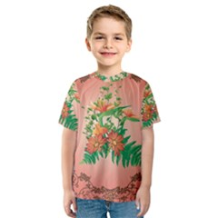 Awesome Flowers And Leaves With Floral Elements On Soft Red Background Kid s Sport Mesh Tees