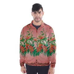 Awesome Flowers And Leaves With Floral Elements On Soft Red Background Wind Breaker (men)