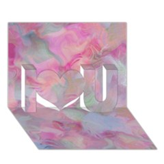 Soft Floral Pink I Love You 3d Greeting Card (7x5)