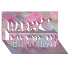 Soft Floral Pink Happy Birthday 3d Greeting Card (8x4)