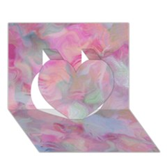 Soft Floral Pink Heart 3D Greeting Card (7x5)