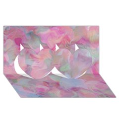 Soft Floral Pink Twin Hearts 3D Greeting Card (8x4)