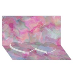 Soft Floral Pink Twin Heart Bottom 3d Greeting Card (8x4)