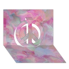 Soft Floral Pink Peace Sign 3d Greeting Card (7x5)