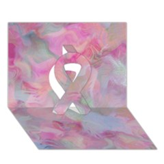 Soft Floral Pink Ribbon 3d Greeting Card (7x5)