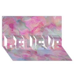 Soft Floral Pink Believe 3d Greeting Card (8x4)