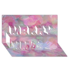 Soft Floral Pink Merry Xmas 3d Greeting Card (8x4)