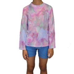 Soft Floral Pink Kid s Long Sleeve Swimwear