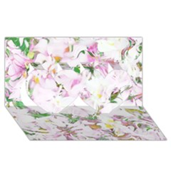 Soft Floral, Spring Twin Hearts 3d Greeting Card (8x4)
